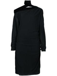 платье с открытыми плечами и деталями со сборкой  Tom Ford