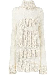 платье-свитер в рубчик с высоким воротом  Ann Demeulemeester