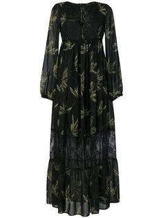 платье с завышенной талией и принтом листьев  Ki6