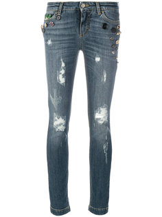 декорированные джинсы с аппликацией и рваными деталями Dolce & Gabbana