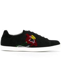 кроссовки с вышитым цветком Emporio Armani