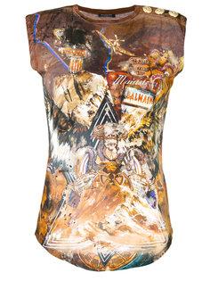 состаренная футболка с принтом Wolf Balmain