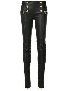 брюки с отделкой пуговицами  Balmain