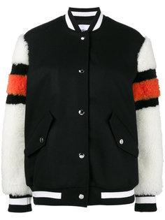 куртка-бомбер с рукавами из цигейки  MSGM