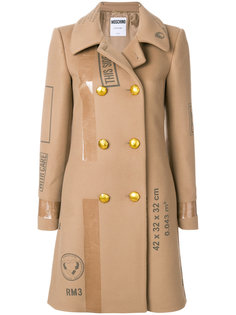 двубортное пальто с принтом  Moschino