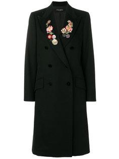 двубортное пальто с цветочной вышивкой Dolce & Gabbana