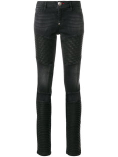 байкерские джинсы с вырезами  Philipp Plein