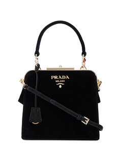 бархатная сумка-тоут с декорированной ручкой Prada