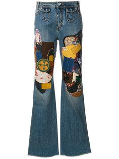 джинсы клеш в стиле пэчворк  Coach