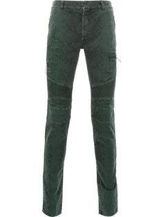 байкерские брюки с принтом змеиной кожи Balmain