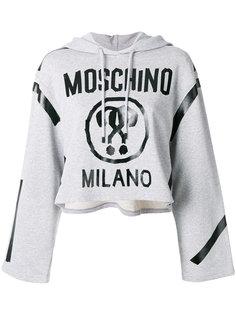 укороченная толстовка с логотипом и капюшоном Moschino