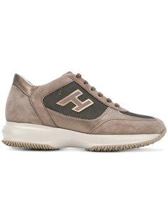 кроссовки с панелями с металлическим отблеском Hogan