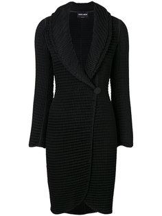 фактурное пальто с воротником шалькой  Giorgio Armani