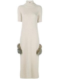трикотажное платье с высокой горловиной Eleventy