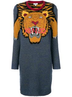 платье-свитер колор блок с тигром  Kenzo