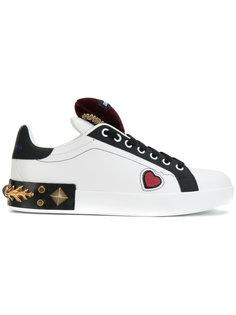 кроссовки Portofino с сердечками и заклепками Dolce & Gabbana