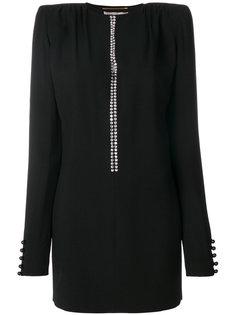 платье мини с отделкой кристаллами Saint Laurent