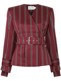 пиджак в полоску с V-образным вырезом и поясом  Solace London
