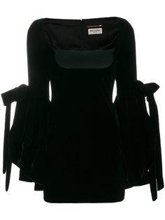 облегающее платье с объемными рукавами Saint Laurent