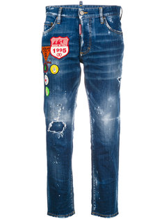 cropped distressed jeans with patches Dsquared2
