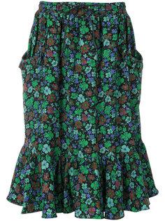 юбка с оборками и цветочным принтом Coach