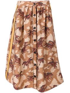 юбка на пуговицах с принтом лошадей Coach
