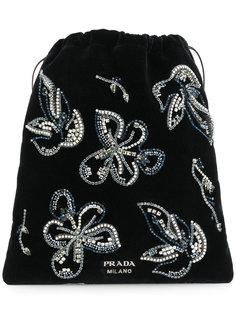 мешок с цветочным декором из кристаллов Prada