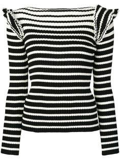 полосатый свитер с рюшами на плечах MSGM