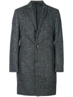 меланжевое однобортное пальто  Calvin Klein