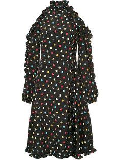 платье в горох с открытыми плечами Anna October
