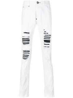 панельные джинсы узкого кроя с эффектом потертости Philipp Plein