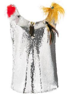 блузка с отделкой перьями и пайетками Sonia Rykiel