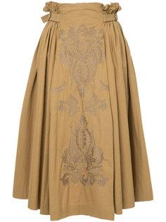 юбка с вышивкой и сборкой Ne Quittez Pas