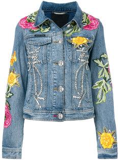 джинсовая куртка с цветочными нашивками Philipp Plein