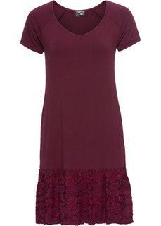 Платье с кружевной вставкой (темно-бордовый) Bonprix