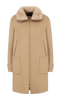 Кашемировое пальто свободного кроя с отделкой из меха норки Loro Piana