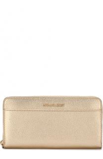 Кожаное портмоне на молнии с логотипом бренда MICHAEL Michael Kors
