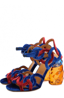 Бархатные босоножки на декорированном каблуке Dries Van Noten