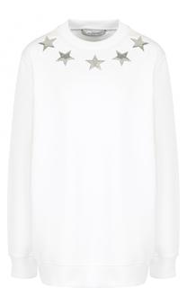 Однотонный хлопковый свитшот с круглым вырезом Givenchy