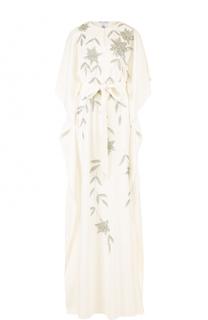 Шелковое платье-макси с поясом и контрастной отделкой Oscar de la Renta