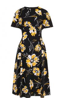 Приталенное шелковое платье-миди с принтом Michael Kors