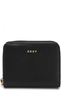 Кожаный кошелек с логотипом бренда DKNY