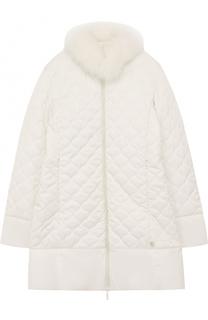 Стеганое пальто с меховой отделкой Lanvin