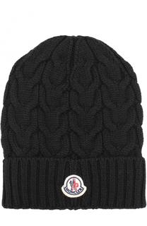 Шерстяная шапка фактурной вязки Moncler Enfant