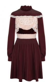 Шелковое мини-платье с кружевными вставками и длинным рукавом Valentino