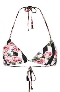 Треугольный бра в полоску с цветочным принтом Dolce & Gabbana