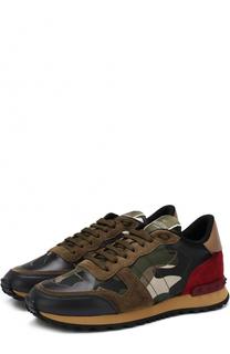 Комбинированные кроссовки Rockrunner с принтом Valentino