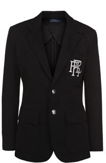 Приталенный однотонный жакет с логотипом бренда Polo Ralph Lauren