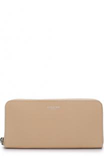 Кожаный кошелек на молнии с контрастной прострочкой Saint Laurent