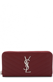 Кожаный кошелек Monogram на молнии с логотипом бренда Saint Laurent